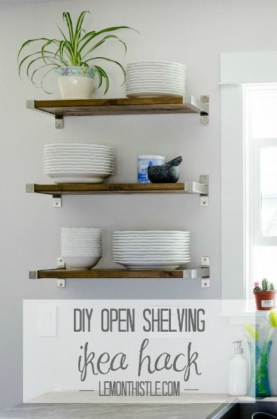 DIY Open Shelving by Lemon Thistle - this looks fabulous and is an easy way to create more storage on a limited budget!