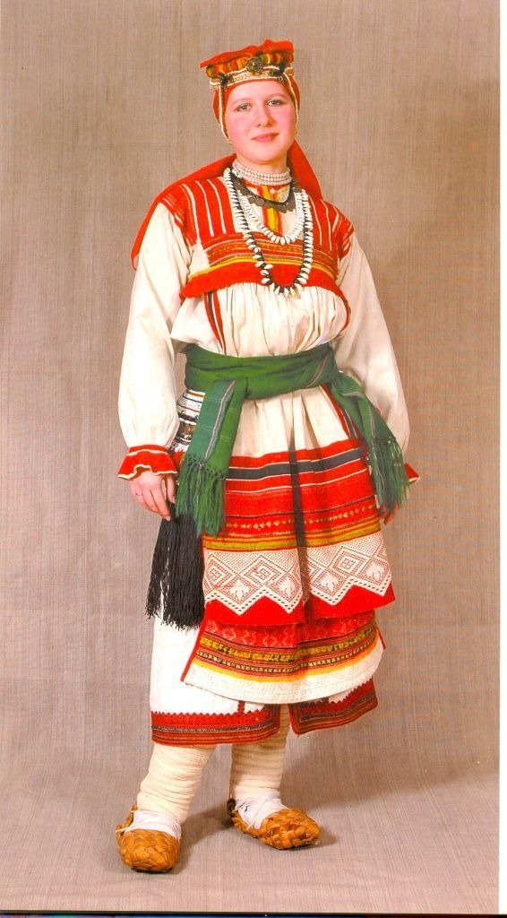 North Asia | Portrait of a woman wearing traditional clothes, Mordva, Russia