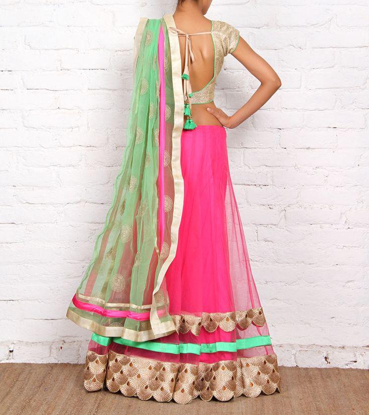 Pink & Lime Green Net & Art Silk Lehenga Set