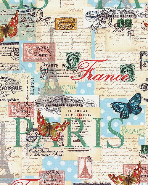 Paris Spring Expo - Letters from Paris - Dawn Blue. From eQuilter.com