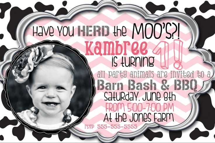 Customized Cow Birthday Party Invitation / Girl or by brittbond, $9.50