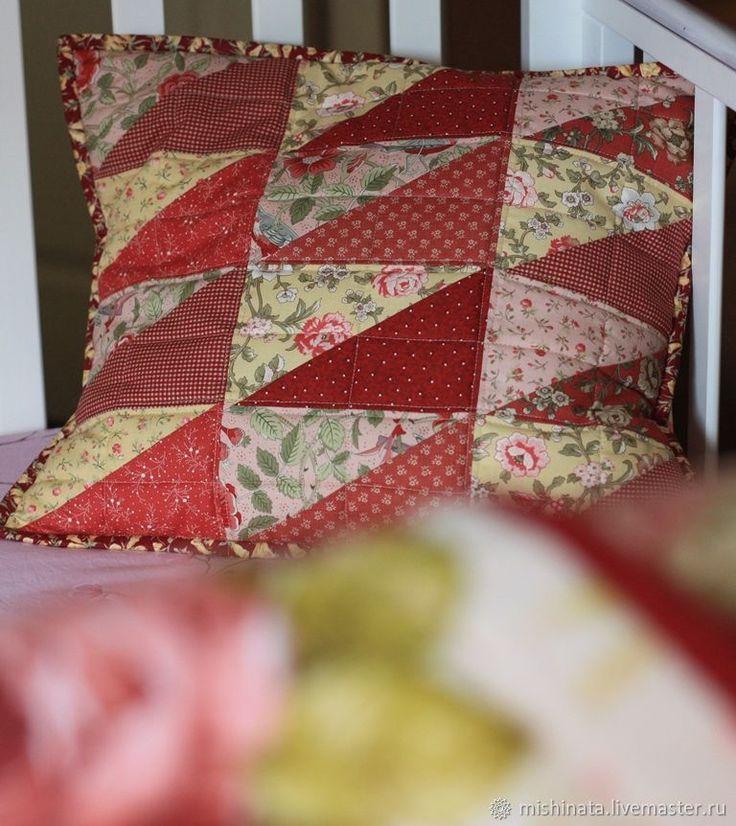 """Купить Подушка лоскутная """"Летний вечер"""" - кремовый, подарок девочке, подарок девушке, подушки декоративные"""
