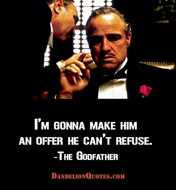 I'm gonna make him an offer he can't refuse. -The Godfather #movies #retro #Vintage