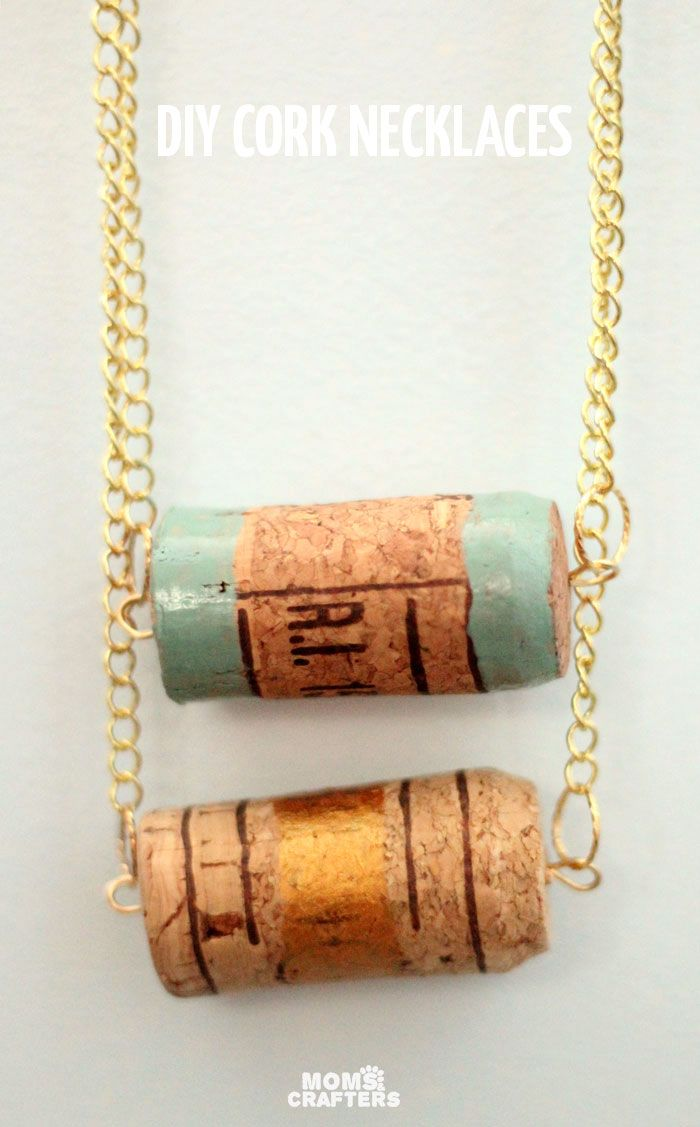 Make an easy cork necklace crafts jewelry and cork necklace for Simple cork