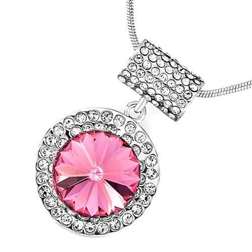 Pugster Round Clear Crystal October Birthstone Rose Swarovski Crystal Pendant Necklace For Women Pugster. $29.99. Size (mm): 20.41*12.39*32.36. Weight (gram): 11.3. Metal: Metal, crystal. Color: Silver tone, clear, rose