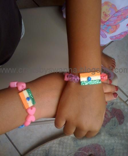 My Craft Ideas: Independence Day bracelet/Indian Flag bracelet: