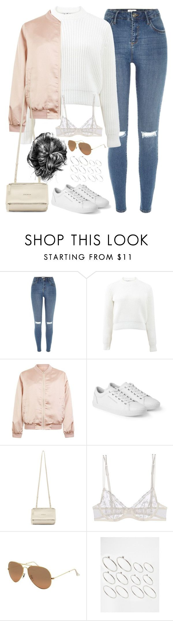 """""""Untitled#4522"""" by fashionnfacts ❤ liked on Polyvore featuring River Island, T By Alexander Wang, Cameo Rose, Dolce&Gabbana, Givenchy, La Perla, Ray-Ban and ASOS"""