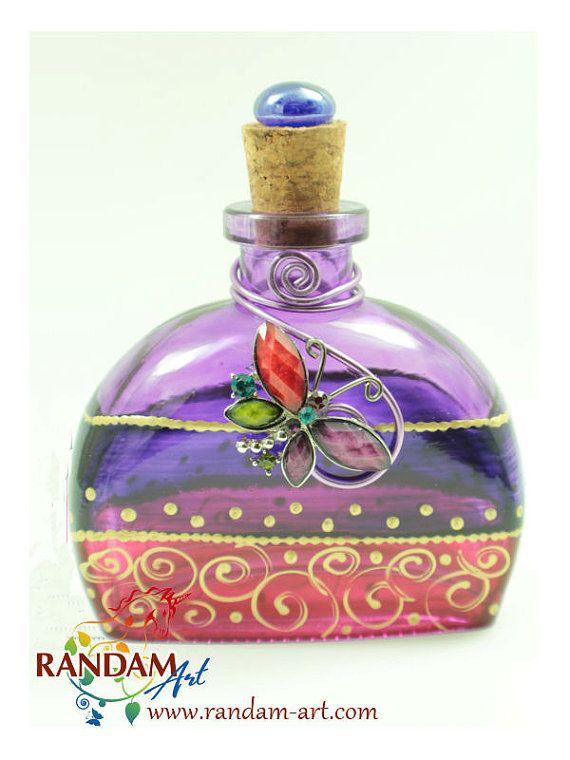 Hand Painted Art Bottle Art on Glass  6oz clear by RandamArt.