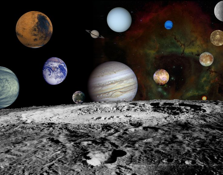 This montage of images taken by the Voyager spacecraft of the planets and four of Jupiter's moons is set against a false-color Rosette Nebula with Earth's moon in the foreground.