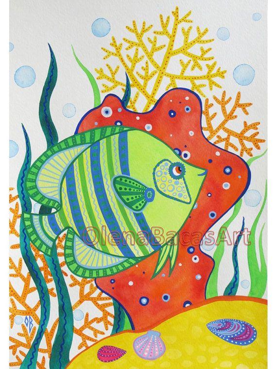 Green Fish ORIGINAL Painting Watercolor Gouache Nautical Illustration Nursery room decor SALE Kids Baby Boy Girl via Etsy