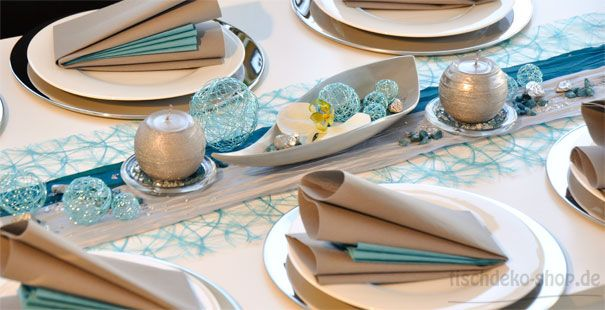 Tischdeko Silberhochzeit Türkis/Silber