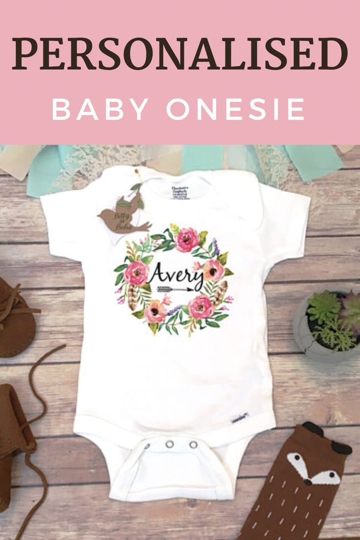 219260e44 Baby Name Onesie® , Custom Onesie, Boho Baby Clothes, Baby Girl Clothes, Custom  Baby Gift, Baby Shower Gift, Personalized Onesie, Floral Wreath.