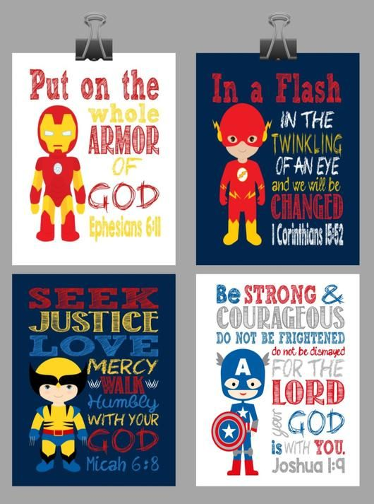 Set of 4 Superhero Wall Art - Christian Print Captain America, Flash, Wolverine, Ironman Nursery Decor - Bible Verse
