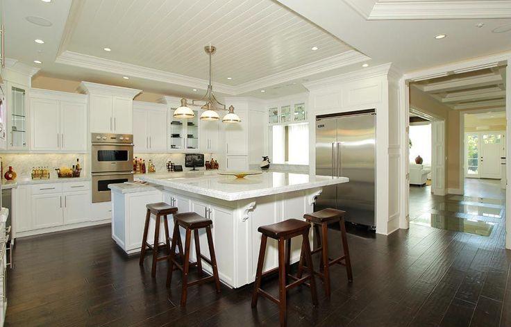 beadbard ceiling square island Kitchen