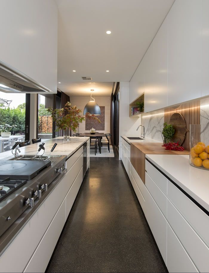 Prahran kitchen galley white cupboards marble benchtop for Galley kitchen cabinets for sale