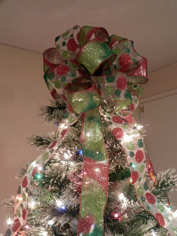 Large Christmas Tree Topper Bow 2 Ribbons Sheer Ribbon With Red Lime Green And Traditional Polka Dots A Glitter