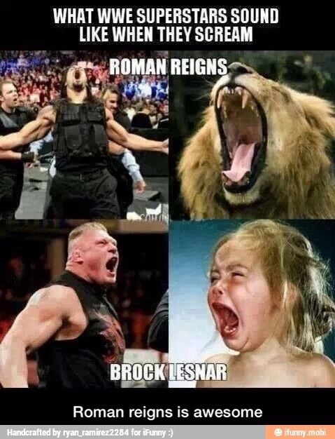 Brock Lesnar screams like a little girl doesn't he