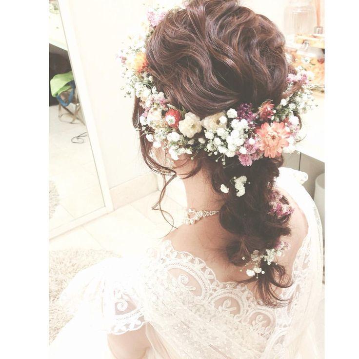 いいね!173件、コメント9件 ― naoko yamamotoさん(@no422422)のInstagramアカウント: 「.. . かすみ草の花冠に ドライフラワーをたして❤︎ .. はあぁぁーーー 担当出来てほんと…幸せです〜 .. .…」