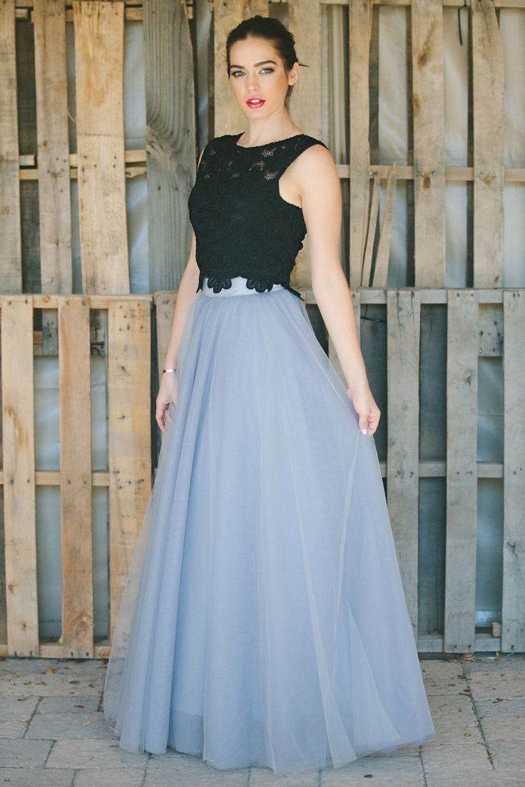 maxi tulle skirt, lace crop top, feminine fashion, modest dress, Space 46
