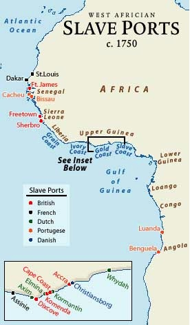 Map of West African slave ports c. 1750.