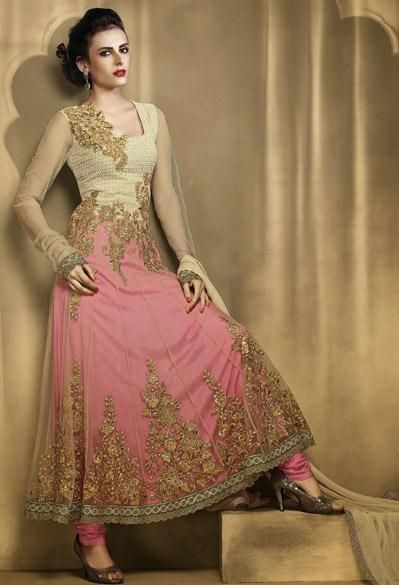 USD 106.86 Brown and Pink Net A Line Zardosi Work Anarkali Salwar Kameez 27717