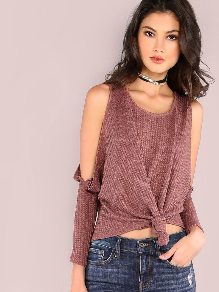 T-Shirts by BORNTOWEAR. Open Shoulder Knot Front Waffle Knit T-shirt