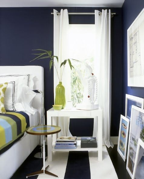 I'm Liking The Navy Blue Walls With White Curtains