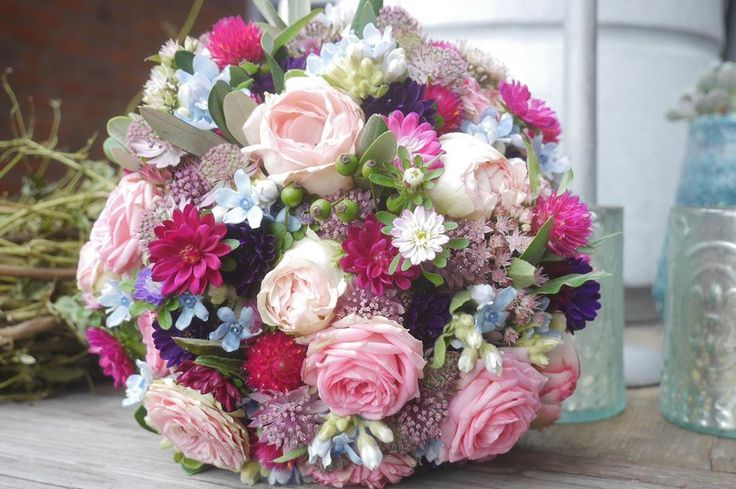 Small sweet bridal bouquet from the weekend …. Pink, purple and light blue tones …  – Wedding