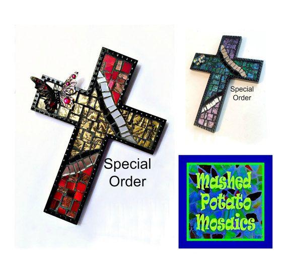 Custom Black Mosaic Cross Butterfly Mosaic by MashedPotatoMosaics