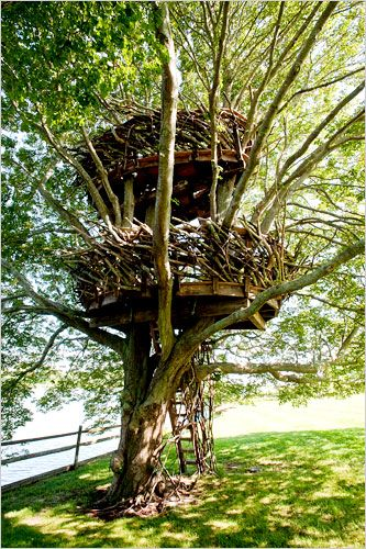 "Double-decker ""nest"" treehouse in the Hamptons"