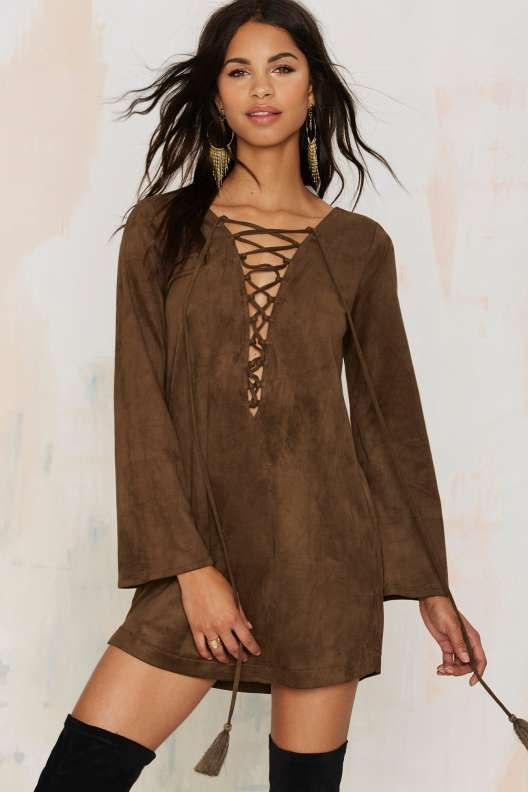 Thrill of the Lace Up Dress