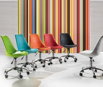 Chaise de bureau design à roulettes colorée KRIAKAO