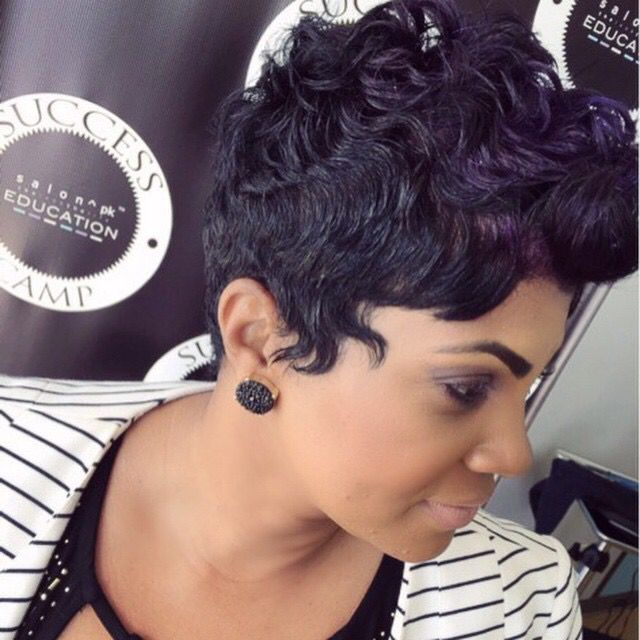 Great fall look- hint of violet on a short pixie style. Salon PK  Jacksonville