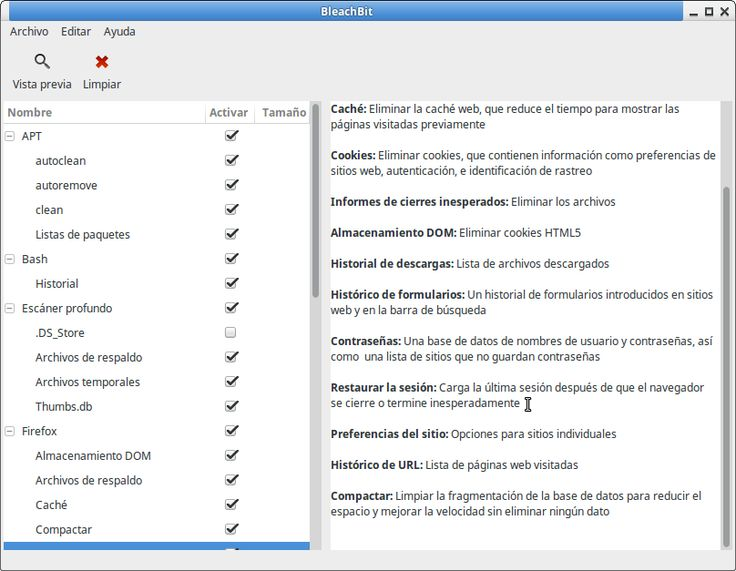 BleachBit es una alternativa en Linux Ubuntu/Mint a CCleaner