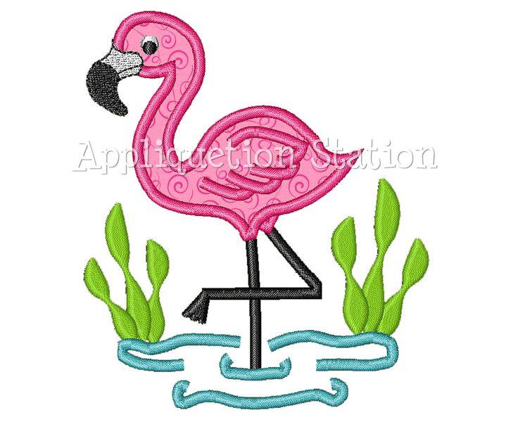 Flamingo Tropical Applique Machine Embroidery Design Cute