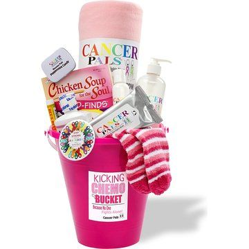 Cancer Patient Gift and Chemotherapy Gift Basket-Kicking Chemo Bucket (Pink)