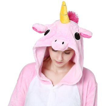 Pink Unicorn Pajamas Sets Flannel Animal Pajamas Winter Nightie Stitch Unicornio Women Men Adults Onesie Panda Kigurumi Tiger  Price: 14.08 USD
