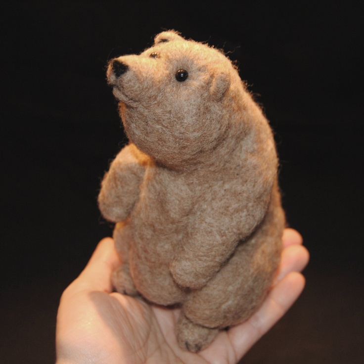 Needle Felted Brown Bear. $28.00, via Etsy.