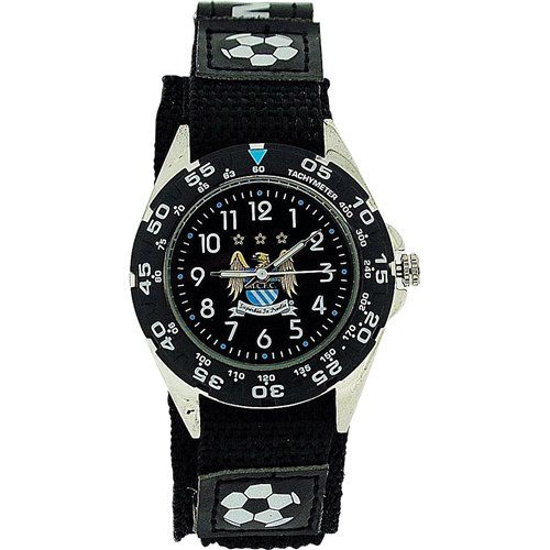 Official Manchester City FC Liscensed Black Velcro Strap Football Watch GA3759
