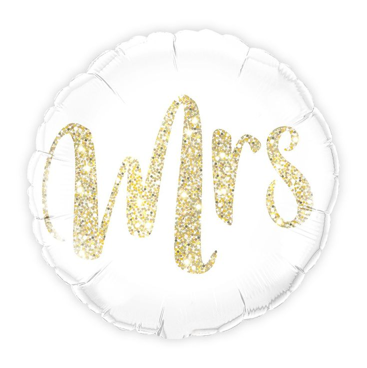 Mylar Folie Helium Party Ballon Hochzeitsdekoration – Weiß mit Gold Mrs. Glitter   – Wedding