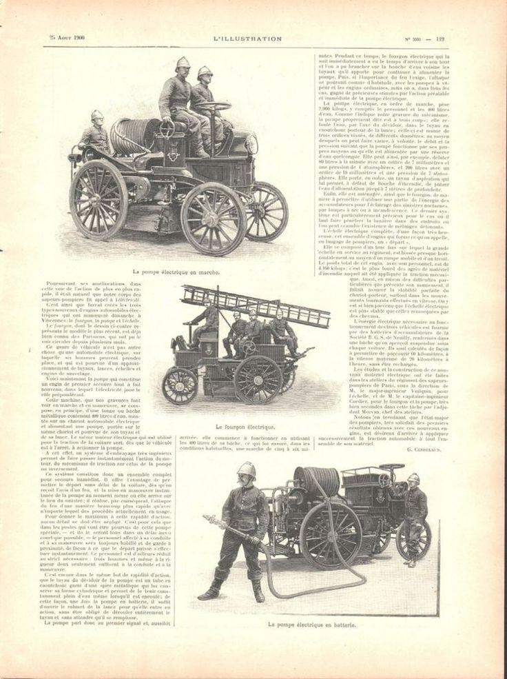 Matériel électrique automobile -- Sapeurs pompier Paris - Article de Presse 1900