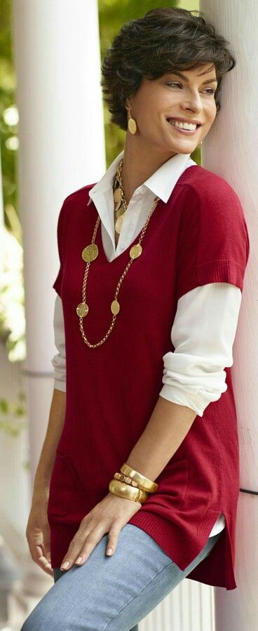 This is a great shirt and sweater combination.  It can be used for work or casual.  LOVE it!