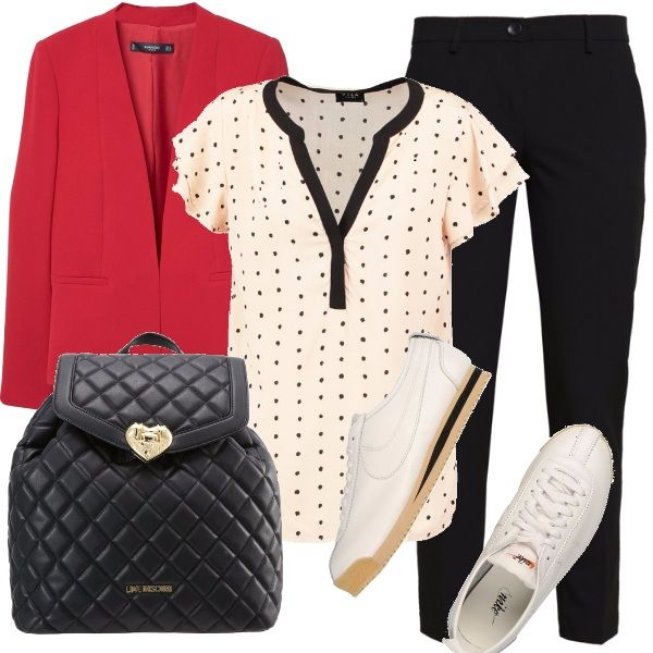 La protagonista di questo outfit è senza dubbio la blusa color panna con profili e pois neri. Per un look casual, ma comunque femminile, possiamo abbinare i pantaloni a sigaretta neri e il blazer rosso acceso. Gli accessori, un paio di semplici sneakers nelle stesse tonalità della blusa e un delizioso zainetto trapuntato con chiusura a cuore.