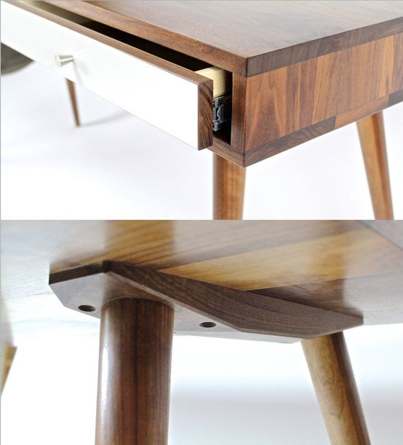Mid Century Desk with Walnut Drawers and by jeremiahcollection