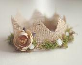 Newborn Mini Burlap and Baby's Breath  Crown, Newborn Photography Prop. $20.00, via Etsy.