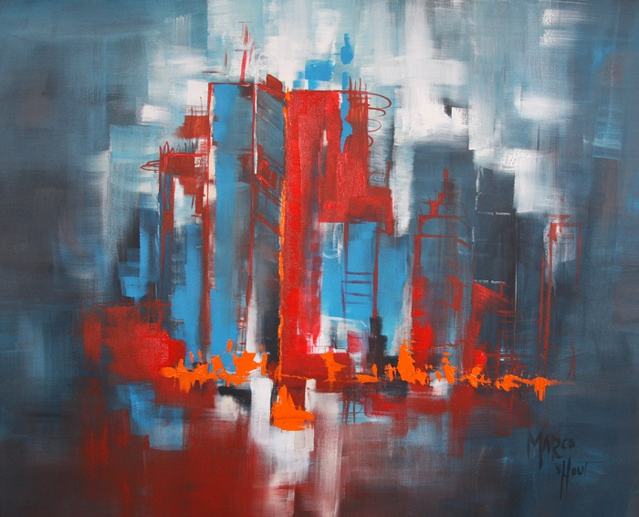 "100x80cm Acrylics - ""Urban Vibes #9 - Red, or Blue, or..."""