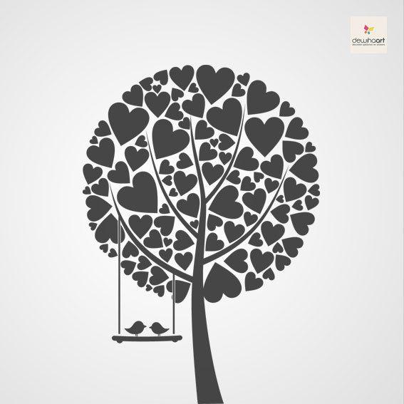 Boom met hartjes en vogels 2 - Dewiha Art - Muursjablonen en Muurstickers