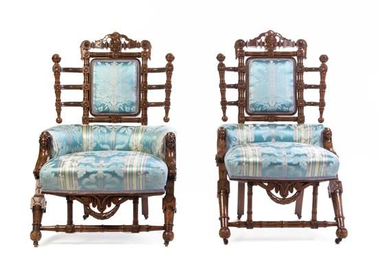 A Pair of Renaissance Revival Walnut Side Chairs George Hunzinger, New York, design patented 1868