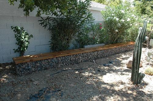 gabion bench Backyard Landscaping Hardscape