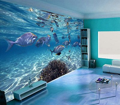 20 best images about papier peint 3d fond marin on for 3d aquarium wallpaper for bedroom